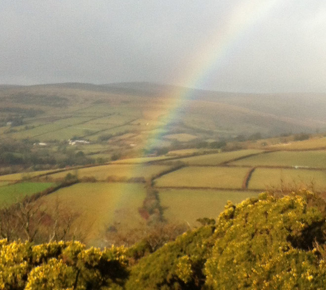 Devon countryside with a rainbow